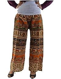 Rajasthani Fashion Regular Fit Women's Multicolor Animal Prints Trousers Palazzos - B071Y1QF7P