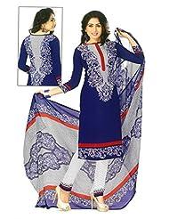 SGC Blue Crepe Printed Unstitched Churidar Kameez - (M-4274)