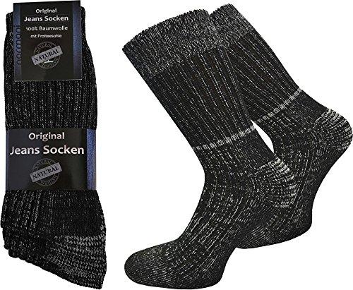 6 Paar Jeans Socken mit Frotteesohle aus 100% reiner Baumwolle von normani® Farbe Schwarz Größe 43/46