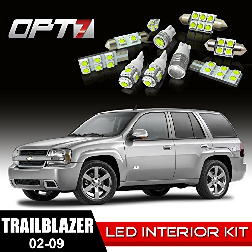 OPT7 16pc Interior LED Replacement Light Bulbs Package Set for 02-09 Chevy Trailblazer White