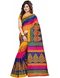 Rensil Women's Art Silk Saree With Blouse Piece (Rs156 Sarees For Women_Multi Colored)