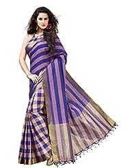 Shaded Purple Party Wear Saree With Checks Design Skirt Cotton Printed Sari