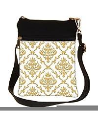Snoogg Golden Pattern Cross Body Tote Bag / Shoulder Sling Carry Bag