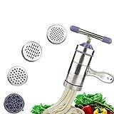SUMERSHA Edelstahl-Handbuch Noodles-Presse-Maschine Nudelmaschine mit 5 Noodle Mould