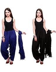 Bottomline Patiala Salwars And Dupatta Set Combo(Free Size,Black & Royal Blue)