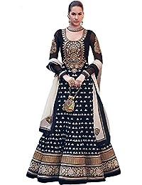 JDS FASHION New Arrival Semi-Sticthed Georgette Dress (Womens _0019 Black _Dress_Diwali_Black_ Dress_)