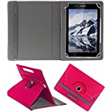 KOKO ROTATING 360° LEATHER FLIP CASE FOR Datawind UbiSlate 7C Plus TABLET STAND COVER HOLDER Dark Pink