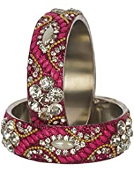 Nice Pink Bangle Set For Women (Pack Of 6) - Size 2.6