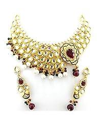 Seasons4 Red Metal Choker Necklace-Earring Set For Women-NA10A304