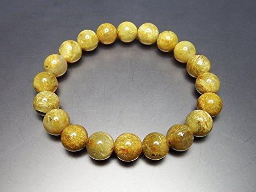 石街[イシガイ]isigaii 金運健康運天然石濃密ミルキーゴールドルチルクオーツ約10mm弱 数珠ブレスレット パワーストーン『一品一図』
