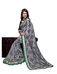 Bhavi Embellished Printed Art Silk Saree With Border - B00NBX5UU8