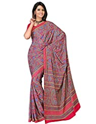 Sehgall Sarees Indian Professional Ethnic Poly Silk Crape Colour Rani