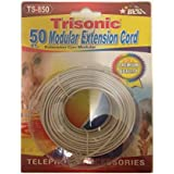 Trisonic Trisonoc50ftcbl Telephone Phone Extension Cord Cable Line Wire, 50', White