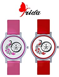 Frida New Latest Beautiful Designer Branded Multi Color PU Belt Analog Awesome Looks Best Offer In Deal Casual... - B01M0H33Z7
