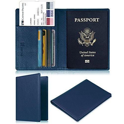 Fintie Porte-passeport Housse - Voyage Protecteur Porte-feuille Pochette étui de protection pour passeport, Bleu Foncé