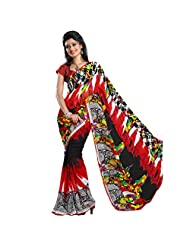 101cart Cute Red Colored Traditional Printed Faux Georgette Saree