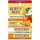 Burts Bees 100% Natural Moisturizing Lip Balm, Coconut & Pear And Mango, 2 Tubes In Blister Box
