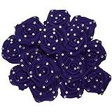 AsianHobbyCrafts Satin & Tissue Stone Ribbon Rose Flower: (51 MM): Pack Of 24 Pcs (Purple)