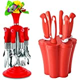 Angel Kitechen Tools Combo Of Knife & Peeler Set With Stand, 7 Pieces Set Made From Stainless Steel & ABS Plastic   Deluxe Cutlery Set Kunj With Stand Made From Stainless Steel & ABS Plastic Pack Of 24 Pieces [SK - 1002]
