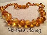 12.5 Inch Baltic Amber Teething Necklace for baby, child, toddler. Round beads all natural, authentic and guaranteed 100%. MUST have essential for baby when beginning to teeth. Helps with drooling, fever, common cold, immune boosting, in Honey.