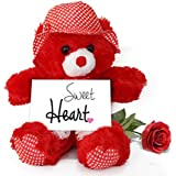 TiedRibbons® Creative Valentine Gifts For Him Teddy Bear With Valentine's Special Greeting Card And Red Rose