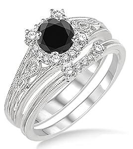 1.25 Carat Black Diamond Vintage halo floral Bridal Set Engagement Ring on 10k White Gold