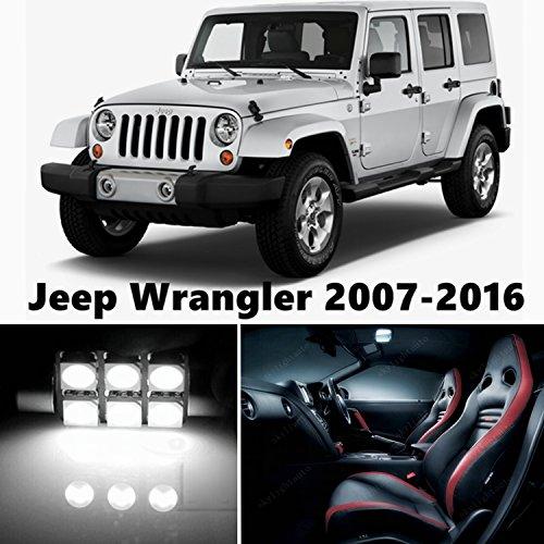 10pcs LED Premium Xenon White Light Interior Package Deal for Jeep Wrangler 2007-2016