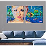 2 Painting Sets Of A Beautiful Woman With Nature Canvas Oil Painting Print With Wooden Mounting | Printasia CANVAS...