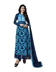 Mantra Fashion Amazing Turquoise & Blue Georgettte Embroidery Work Straight Salwar Kameez