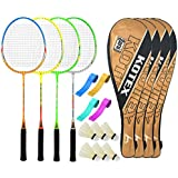 Guru KotexBR10 Series-COMBO-3 Badminton Racquets Set Pack Of Four With Four Cover Six Shuttlecock & Four Hand...