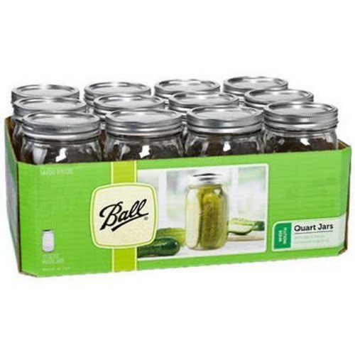 Ball Quart Wide Mouth Mason Jars, Silver Lids pack of 12 (32 OZ)