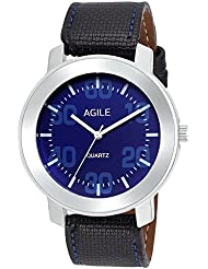 Agile Analog Blue Dial Black Leather Strap Wrist Watch For - Men, Boys