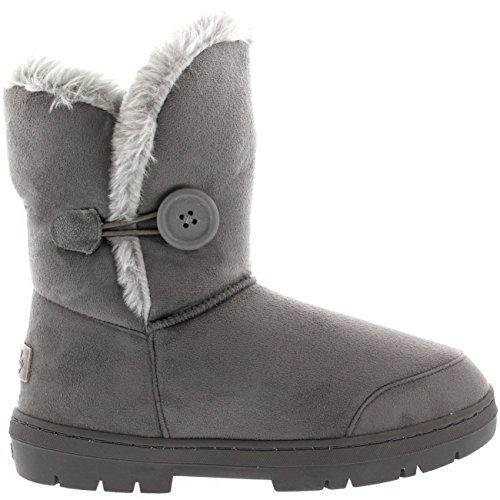 Mujeres solo botón totalmente alineada botas piel a prueba de agua de lluvia de invierno la nieve - gris -...
