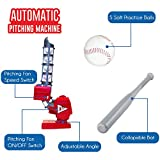 Kids Baseball Pitching Machine - Sturdy Base For Any Surface - Pitches 3 Adjustable Angles & 2 Pitching Speeds to Improve All Skill Levels - Practice Safely with 5 EVA Soft Balls & Plastic Bat Incld.