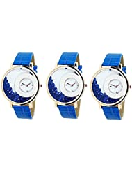 Bollywood Designer Stylish Free Diamond Dial Fancy Leather Watch For Girls And Women Pack Of 3 (Blue-Blue-Blue)