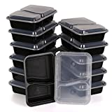Estilo 2-compartment Microwave Safe Food Container With Lid/divided Plate/bento Box/lunch Tray With Cover, Black...