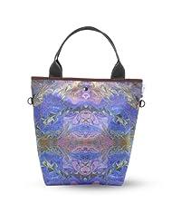 Atrangee Blue Marble Tall Tote Bag (Blue & Brown)