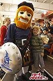 Scottish Human Mascot SpotSound US With Red Beard, Shield And A Kilt