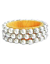 DollsofIndia White Stone Studded And Faux Pearl Bead Bracelet With Yellow Cloth Lining - Beads And Stone - White... - B00R3R6MUK