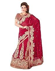 Deep Red Georgette Thread Worked Saree In Deep Red Pallu & Saree Border-SR6716
