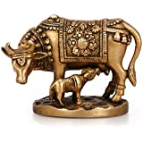 AapnoCraft Religious Kamdhenu Cow Statue Brass Handcraved Calf Sculpture Home & Office Decoration Birthday Gifts
