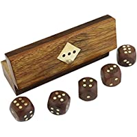 """Set Of 12 - Indian Handcrafted Wooden Game Dice Set In Storage Box Brass Inlay Art - Gifts Packs - 5"""" X 1.5"""" X..."""