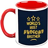 HomeSoGood World's Most Awesome Brother White Ceramic Coffee Mugs - 325 Ml