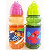 Satyam Kraft Cartoon Character School Water Bottles With Strew And Lid 300 Ml Capacity Dragon/spiderman (1pcs...