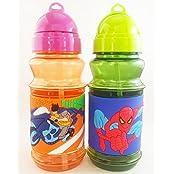 Satyam Kraft Cartoon Character School Water Bottles With Strew And Lid 300 Ml Capacity Dragon/spiderman (1pcs...