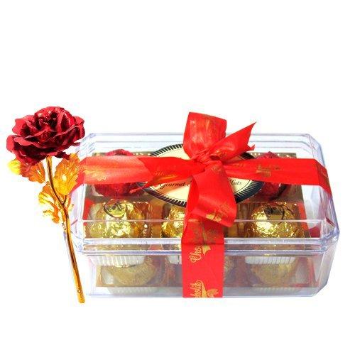 Valentine Chocholik's Luxury Chocolates - Yummy Chocolates Treat With 24k Red Gold Rose