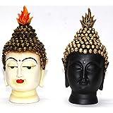 Odishabazaar Golden And Black Buddha Head Set Of 2