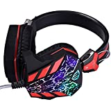 Cosonic CD-618 Cracked Lines Version Stereo Bass Noise Canceling Isolating With Microphone LED Light Game Headphone...