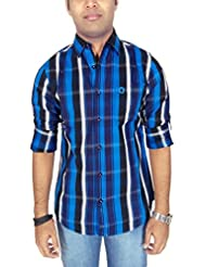 Southbay Men's Royal Blue Cotton Twill Long Sleeve Striped Casual Shirt
