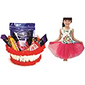 Cadbury Dairy Milk & Skylofts Chocolate Hamper With Beautiful Floral Girls Dress (6-7years) - Rakhi Gifts